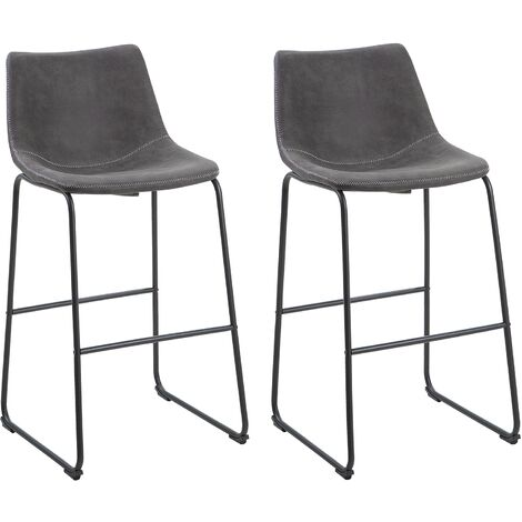 Set of 2 Fabric Bar Chairs Grey FRANKS