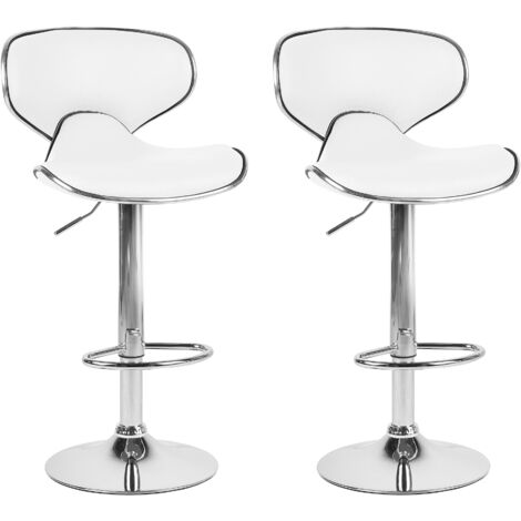 Set of 2 Faux Leather Swivel Bar Stools White CONWAY