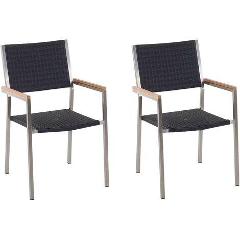Set of 2 Faux Rattan Garden Chairs Black GROSSETO