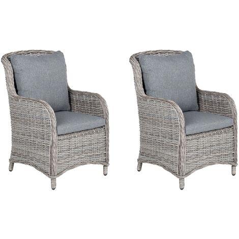 Set of 2 Faux Rattan Garden Chairs Grey CASCAIS