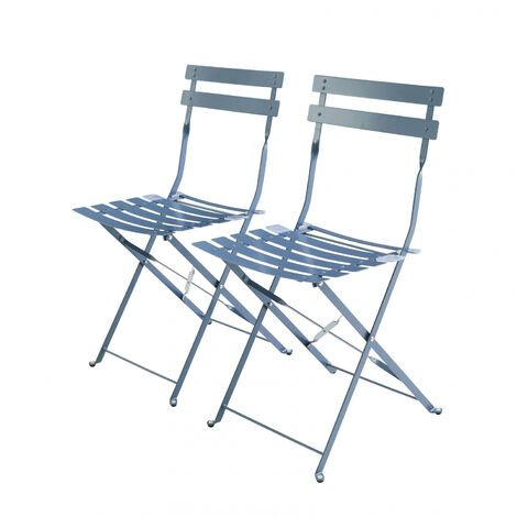 Set of 2 foldable bistro chairs - Emilia blue-grey - Thermo-lacquered steel