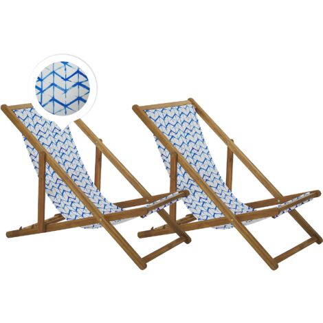 Set of 2 Folding Deck Chairs Sun Loungers White and Blue Light Acacia Anzio