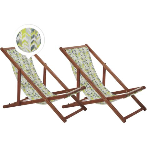 Set of 2 Folding Deck Chairs Sun Loungers Yellow and Grey Dark Acacia Anzio