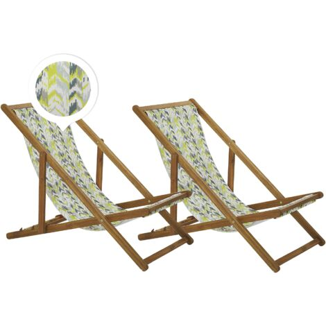 Set of 2 Folding Deck Chairs Sun Loungers Yellow and Grey Light Acacia Anzio