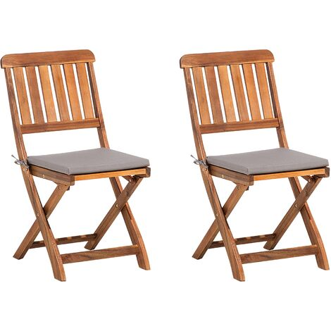 Set of 2 Folding Garden Chairs Acacia Wood CENTO