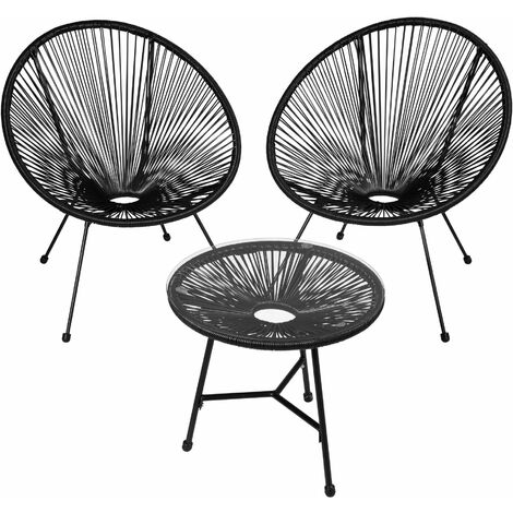Set of 2 Gabriella chairs with table - round table and chairs, glass table and chairs, table and 2 chairs - black - schwarz
