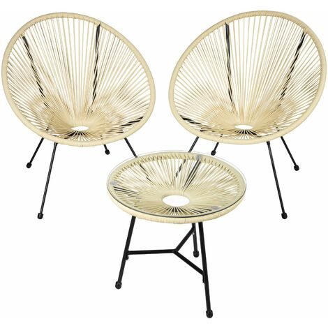 Set of 2 Gabriella chairs with table - round table and chairs, glass table and chairs, table and 2 chairs