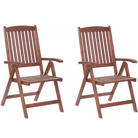 Set of 2 Garden Chairs Acacia Wood TOSCANA