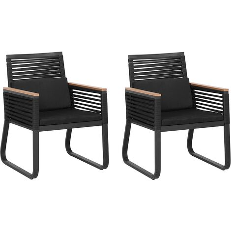 Set of 2 Garden Chairs Black CANETTO