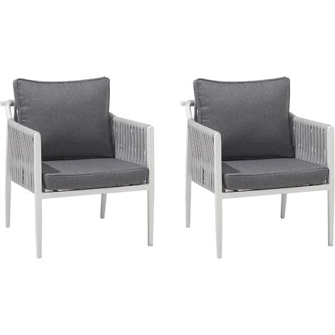 Set of 2 Garden Chairs Grey LATINA