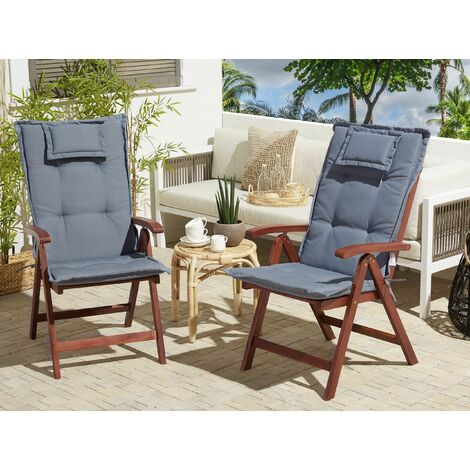 Set of 2 Garden Chairs with Blue Cushions TOSCANA