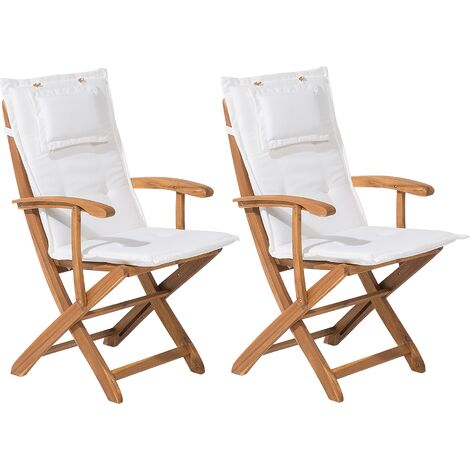 Set of 2 Garden Chairs with Off-White Cushion MAUI
