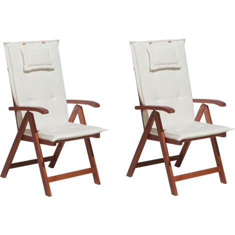 Set of 2 Garden Chairs with Off-White Cushions TOSCANA