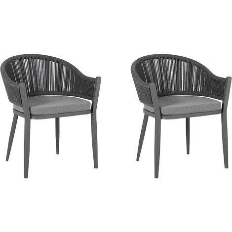 Set of 2 Garden Dining Chairs Grey MILETO