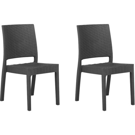Set of 2 Garden Dining Chairs Outdoor Stackable Grey Fossano