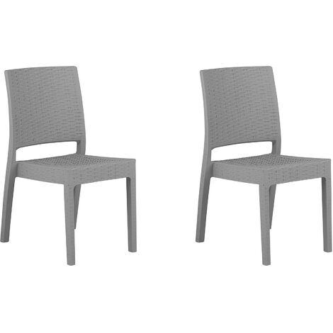 Set of 2 Garden Dining Chairs Outdoor Stackable Light Grey Fossano