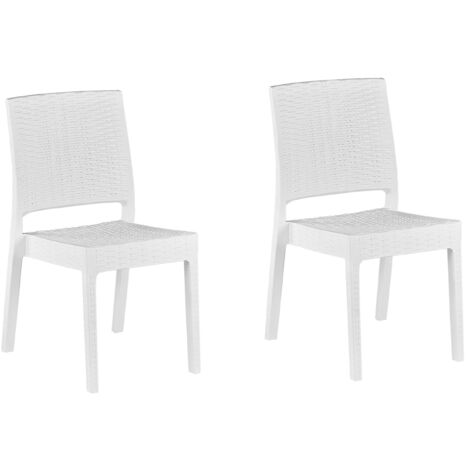 Set of 2 Garden Dining Chairs Outdoor Stackable White Fossano