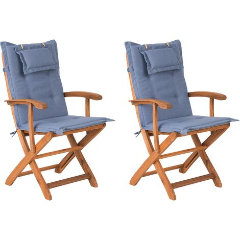 Set of 2 Garden Dining Chairs with Blue Cushions MAUI