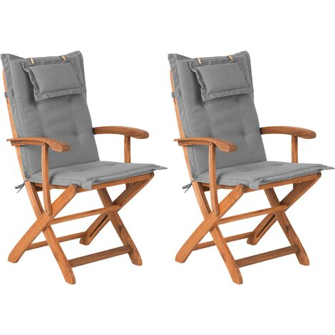 Set of 2 Garden Dining Chairs with Grey Cushions MAUI