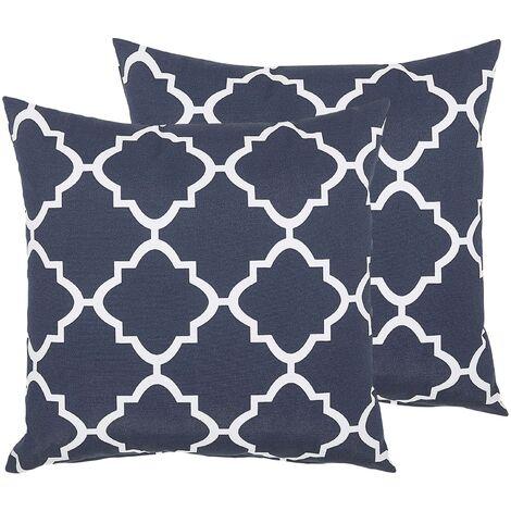 Set of 2 Garden Scatter Pillow Trellis Pattern 40 x 40 cm Blue and White Sofades