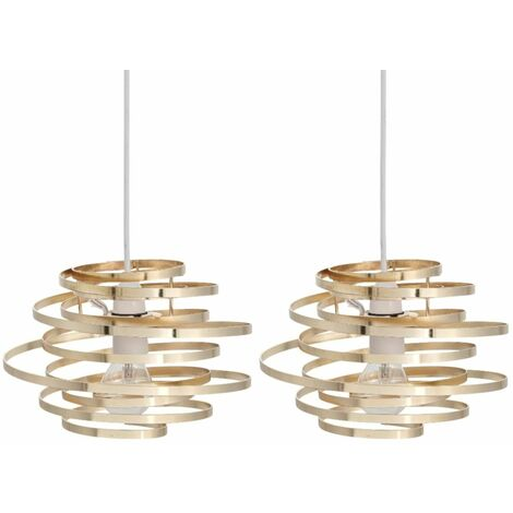 Set of 2 Gold Metal Swirl Easy Fit Light Shades