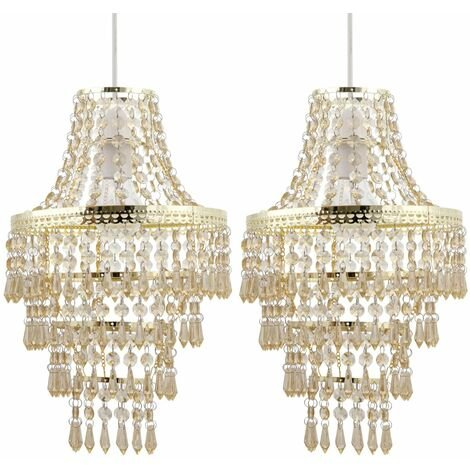 Set of 2 Gold Tiered Chandelier Style Light Shades