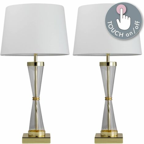 Set of 2 Gold Touch Lamps with White Cotton Shades
