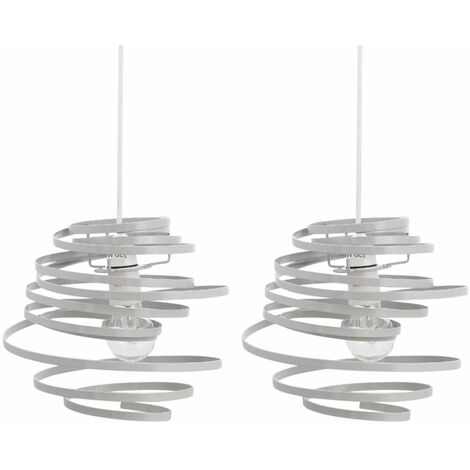 Set of 2 Grey Metal Swirl Easy Fit Light Shades
