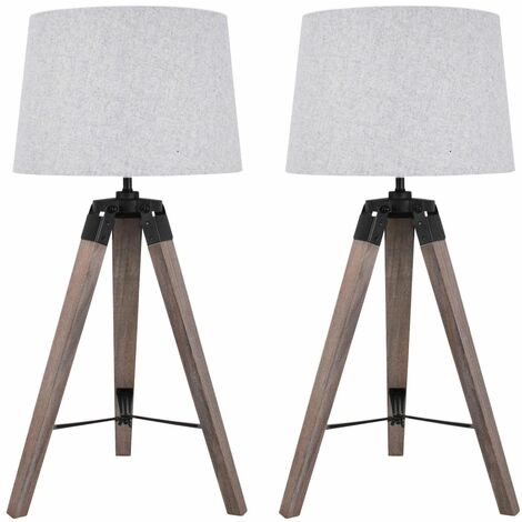 Set of 2 Grey Wash Tripod Wooden Table Lamp with Black Painted Metal Details and Grey Fabric Shade