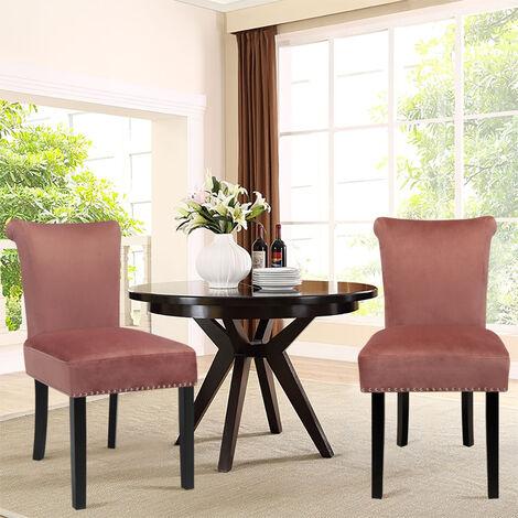 Set of 2 High Back Crush Velvet Dining Chairs