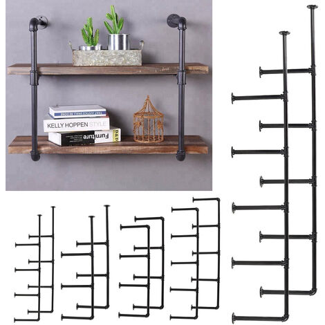"main image of ""Set of 2 Industrial DIY Iron Pipe Shelf Wall-Mounted Bookshelf Brackets"""