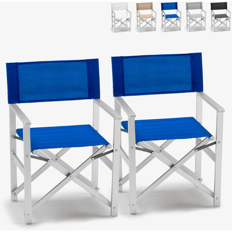 Set of 2 LUSSO Outdoor Folding Director's Chairs