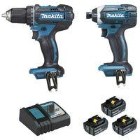 Set of 2 machines Makita DLX2127TJ1 18V 5.0Ah - Drill Screwdriver DDF482 - Impact Screwdriver DTD152