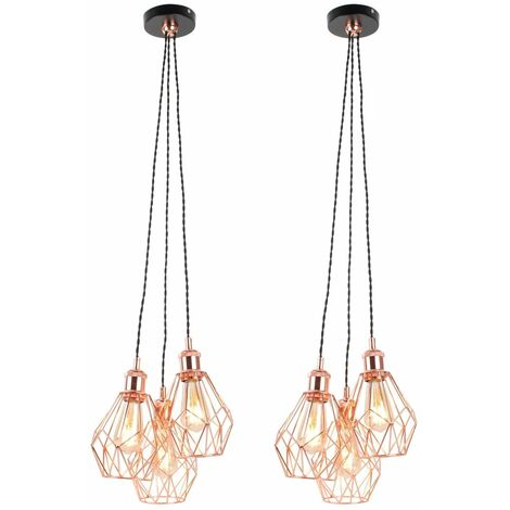 Set of 2 Matt Black & Copper Geometric 3 Light Cluster Pendants