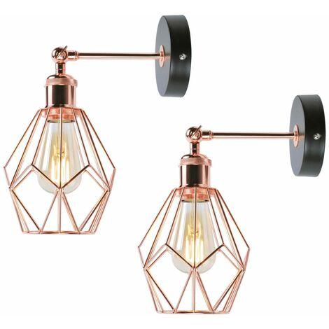 Set of 2 Matt Black & Copper Geometric Wall Lights