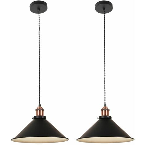 Set Of 2 Matt Black With Brushed Copper Ceiling Pendants