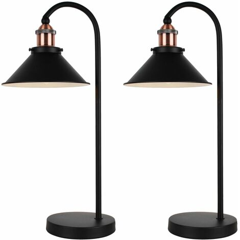 Set Of 2 Matt Black With Brushed Copper Table Lamps