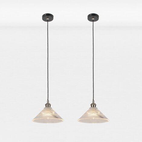 Set of 2 Matt Black With Fluted Glass Pendant Lights