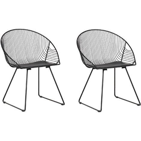 Set of 2 Metal Accent Chairs Black AURORA
