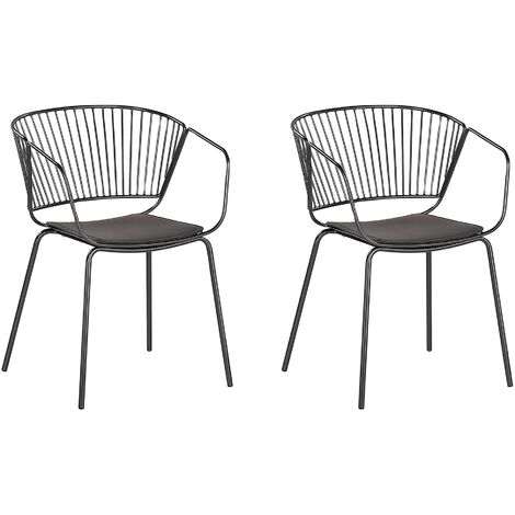 Set of 2 Metal Accent Chairs Black RIGBY