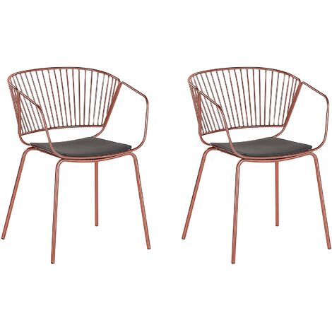 Set of 2 Metal Accent Chairs Copper RIGBY