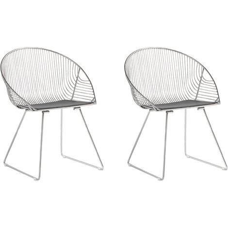 Set of 2 Metal Accent Chairs Silver AURORA