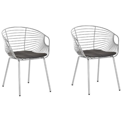 Set of 2 Metal Accent Chairs Silver HOBACK