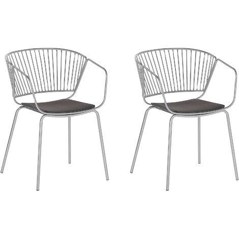 Set of 2 Metal Accent Chairs Silver RIGBY
