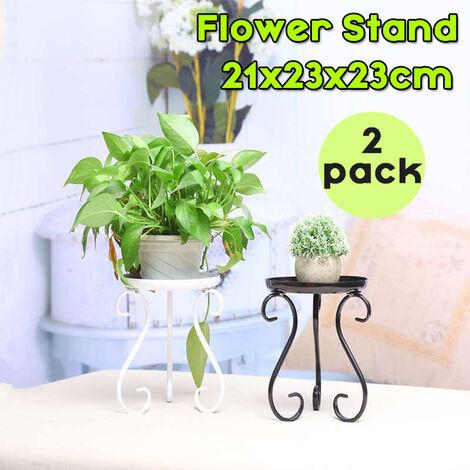 Set of 2 Metal Plant Racks Flower Pot Holder Outdoor Patio Garden Display (White, Set of 2)