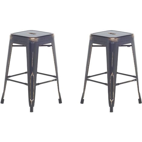Set of 2 Metal Stools 60 cm Black with Gold CABRILLO