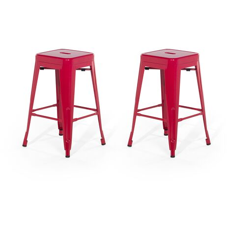 Set of 2 Metal Stools 60 cm Red CABRILLO