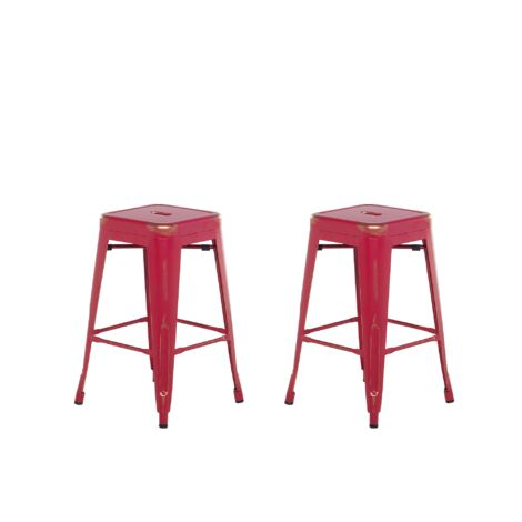 Set of 2 Metal Stools 60 cm Red with Gold CABRILLO