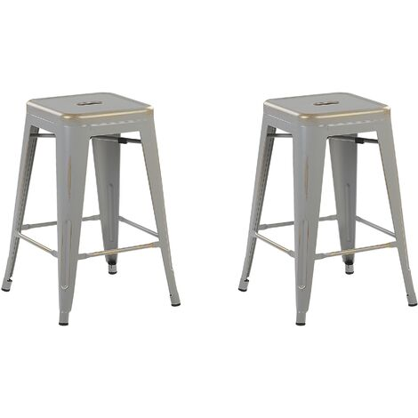 Set of 2 Metal Stools 60 cm Silver with Gold CABRILLO