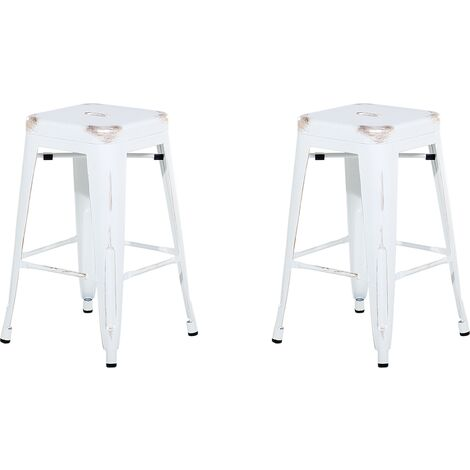 Set of 2 Metal Stools 60 cm White with Gold CABRILLO